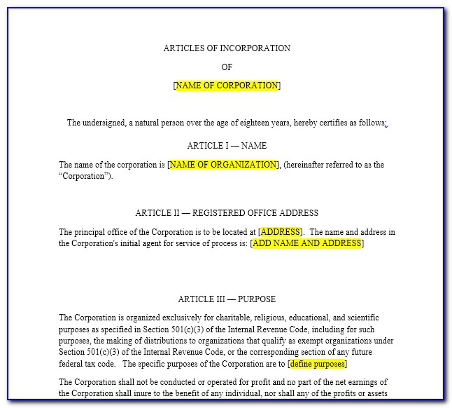 Articles Of Incorporation California Nonprofit Template