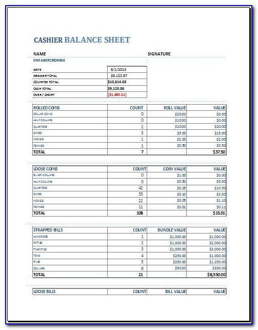 Asset Balance Sheet Template