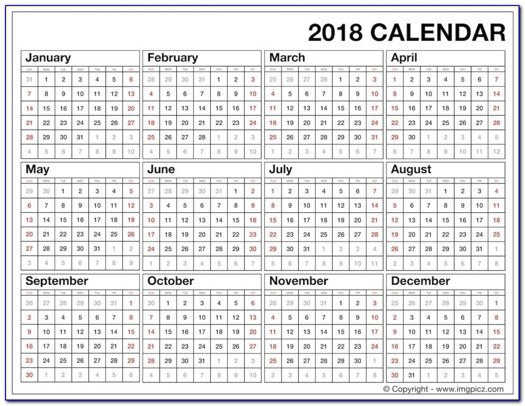 Year At A Glance Calendar 2018 Template | Seven Photo Year At A Glance Calendar 2018