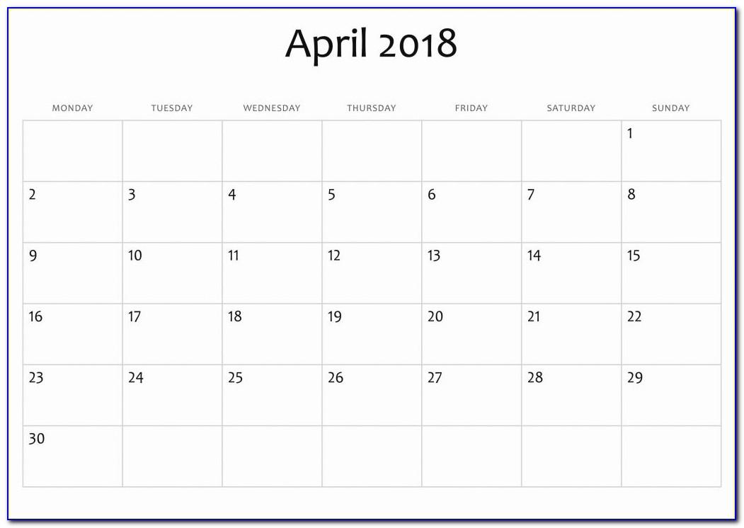 At A Glance Calendar Template