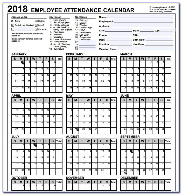 Attendance Calendar Format