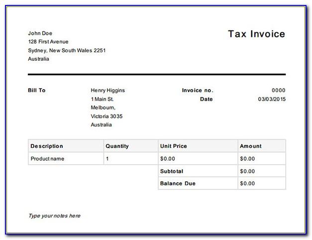 Australia Invoice Template