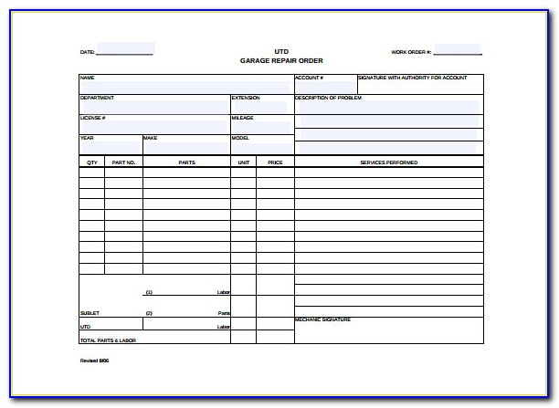 Auto Work Order Template