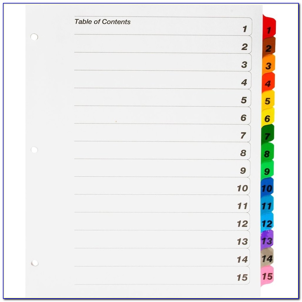 Avery Ready Index 15 Tab Template Avery Ready Index 15 Tab Template