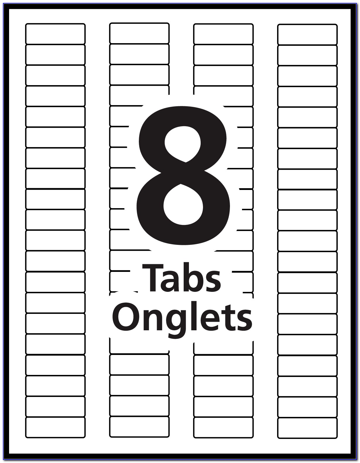 Avery Index Maker 8 Tab Template