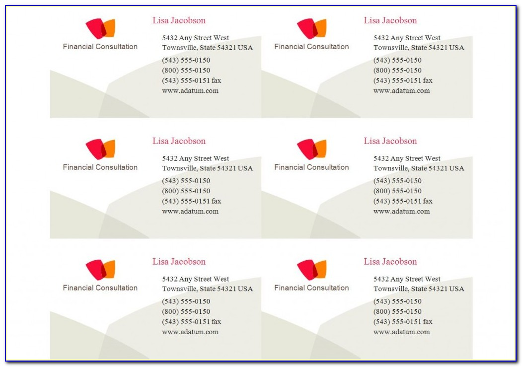 Avery Label Business Card Template