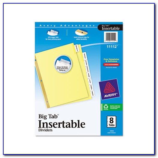 Avery Printable Tab Inserts Template