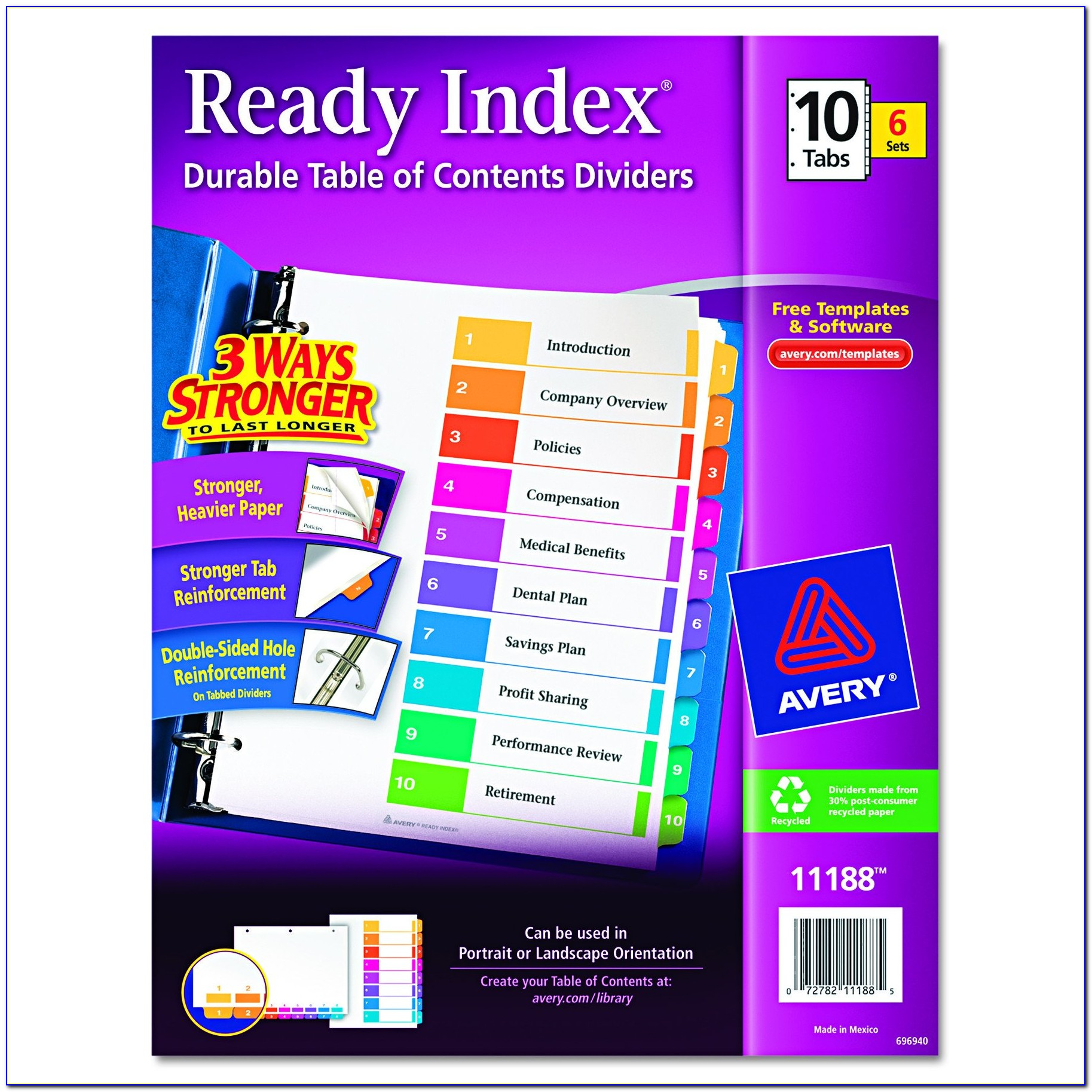 Avery Ready Index 10 Tab Template 11072