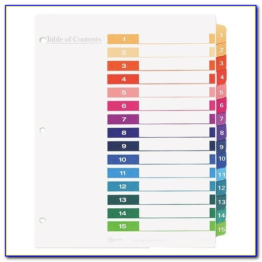 Avery Ready Index Table Of Contents Dividers 5 Tab Template