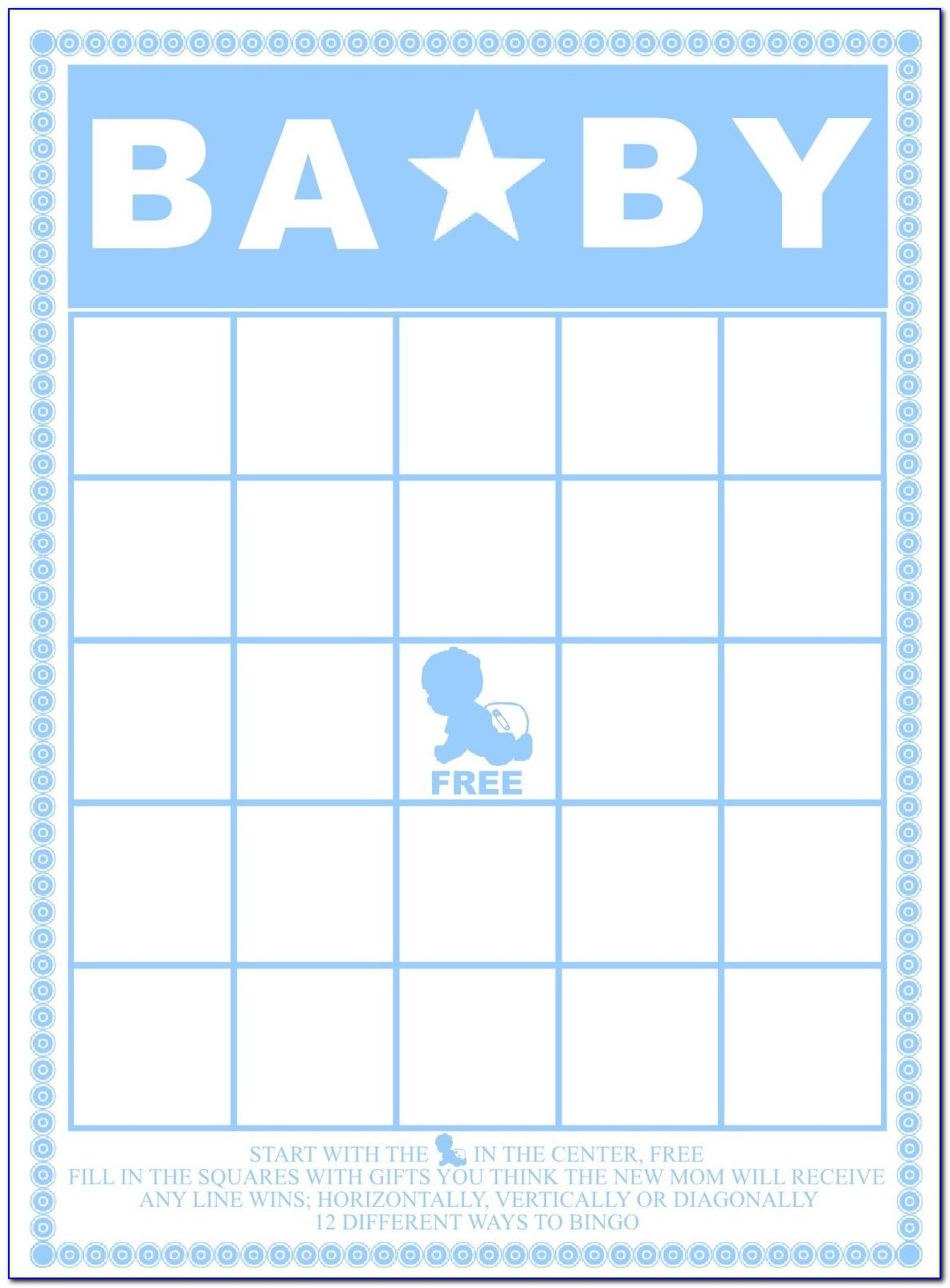 Baby Shower Bingo Card Template