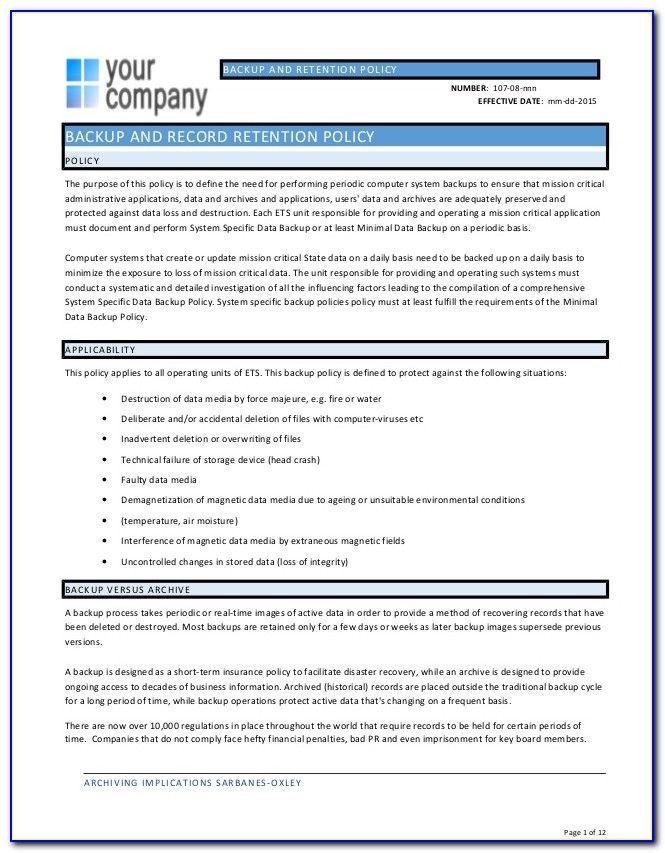 Backup And Recovery Policy Template