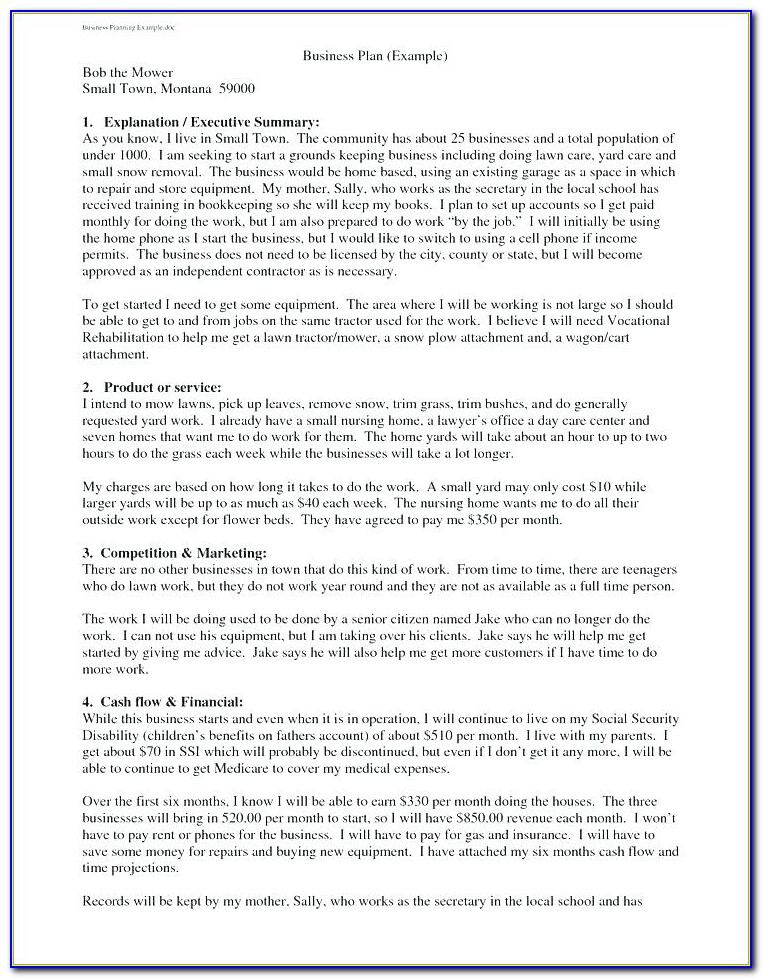 Bakery Business Plan Examples
