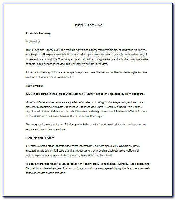 Bakery Business Plan Template Pdf