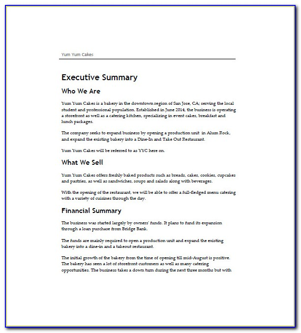 Bakery Business Plan Template Word