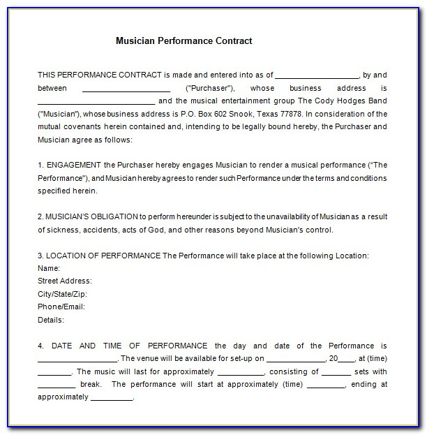 Band Performance Contract Template Pdf