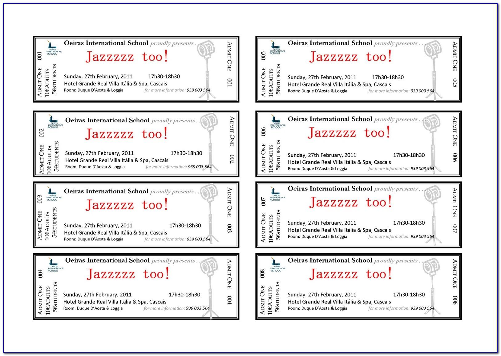 Banquet Ticket Samples