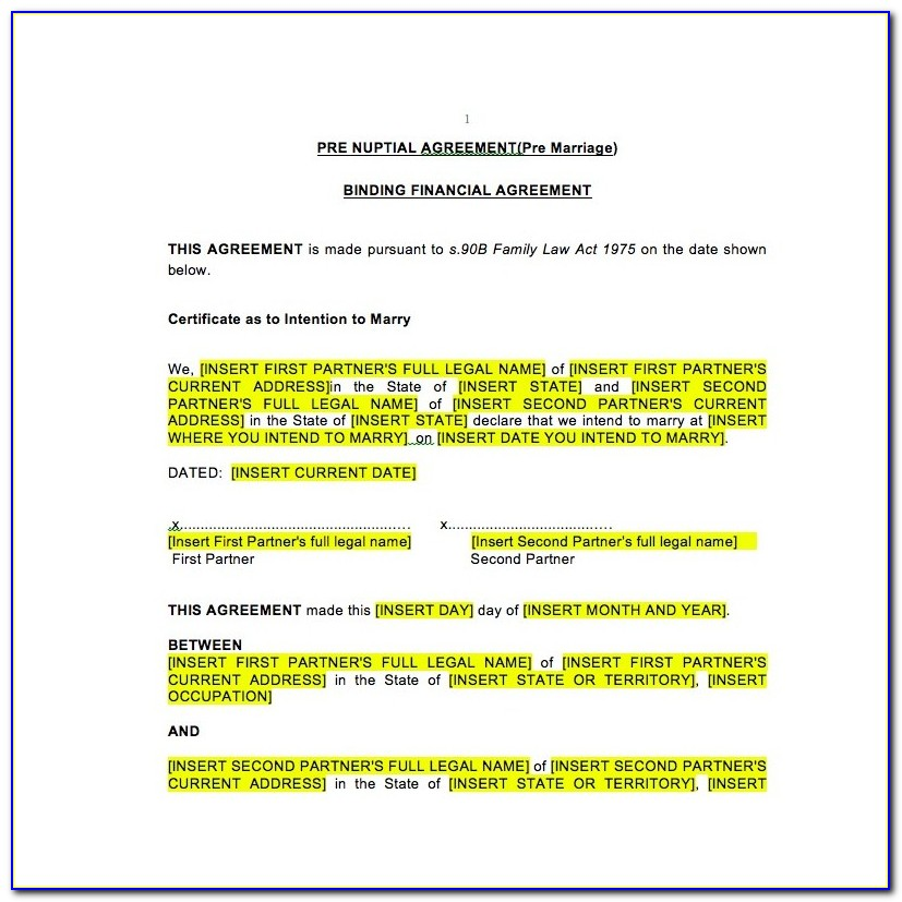 Binding Financial Agreement Template Pdf