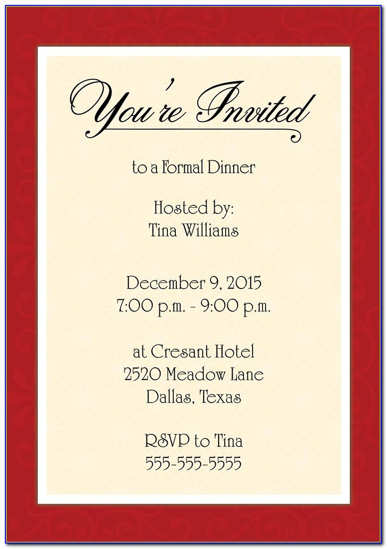 Birthday Dinner Invitation Templates Free