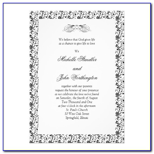 Black And White Wedding Invitation Template