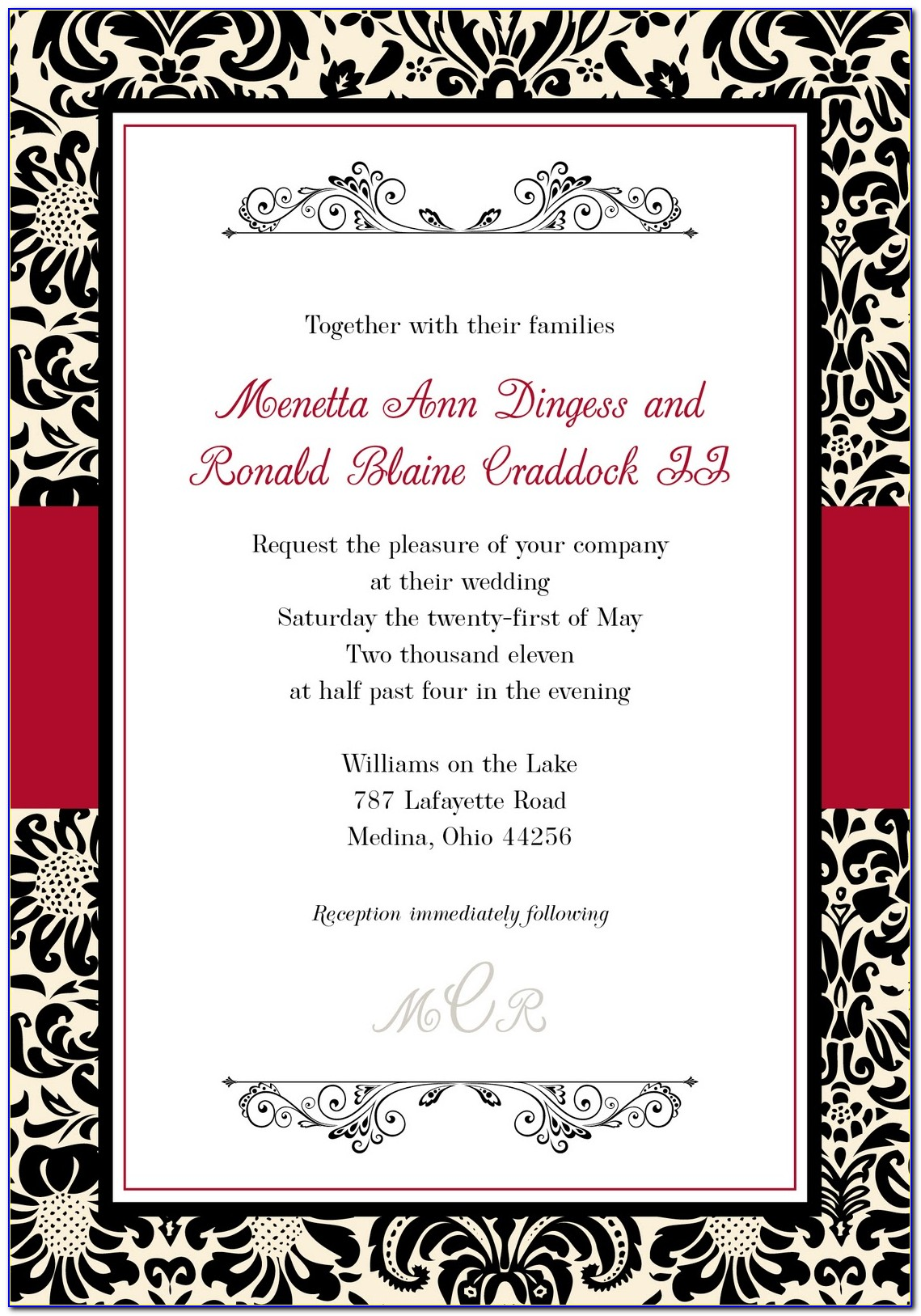 Black And White Wedding Invitation Templates Free