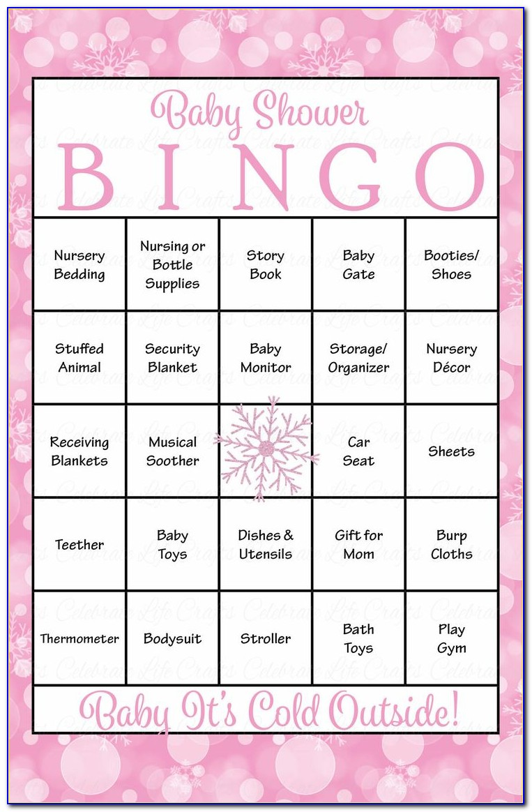 Blank Baby Shower Bingo Card Template Free