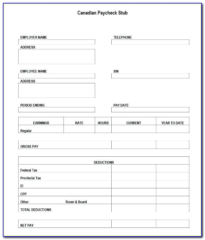 Blank Check Stub Template Free