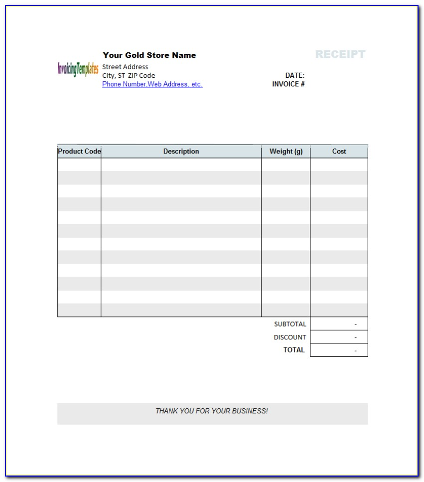 Blank Invoice Template Pdf Uk