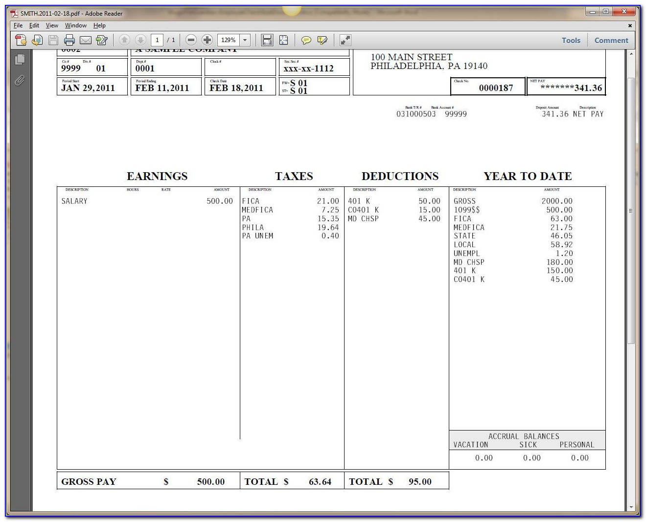 Blank Pay Stub Template Word