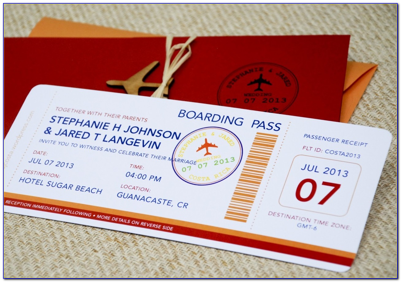 Boarding Pass Wedding Invitations Template Free