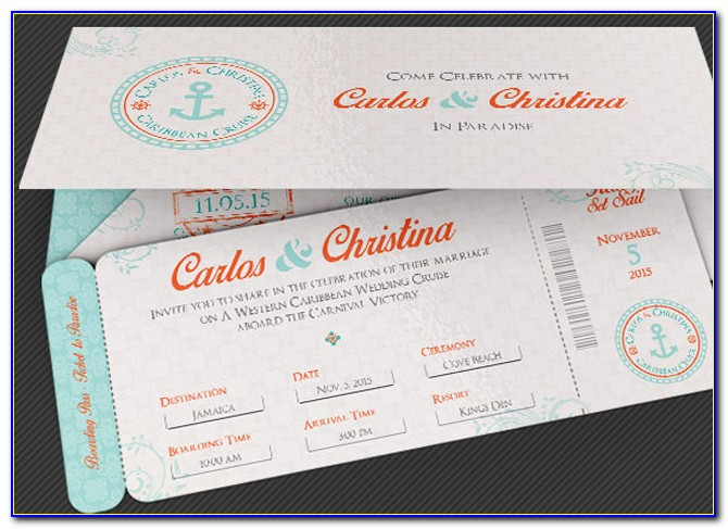 Boarding Pass Wedding Invitations Template Psd