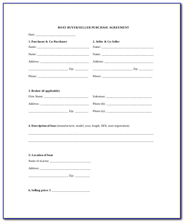 Boat Purchase Agreement Template Free