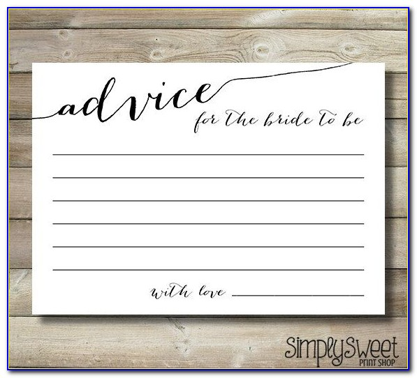 Bridal Shower Advice Cards Free Template