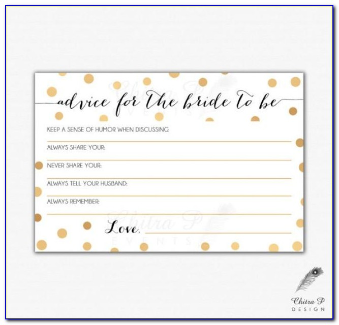 Bridal Shower Advice Cards Template