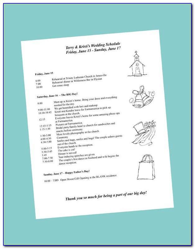 Bridal Shower Itinerary Samples