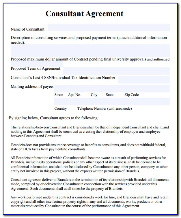 Business Consultant Agreement Template Free