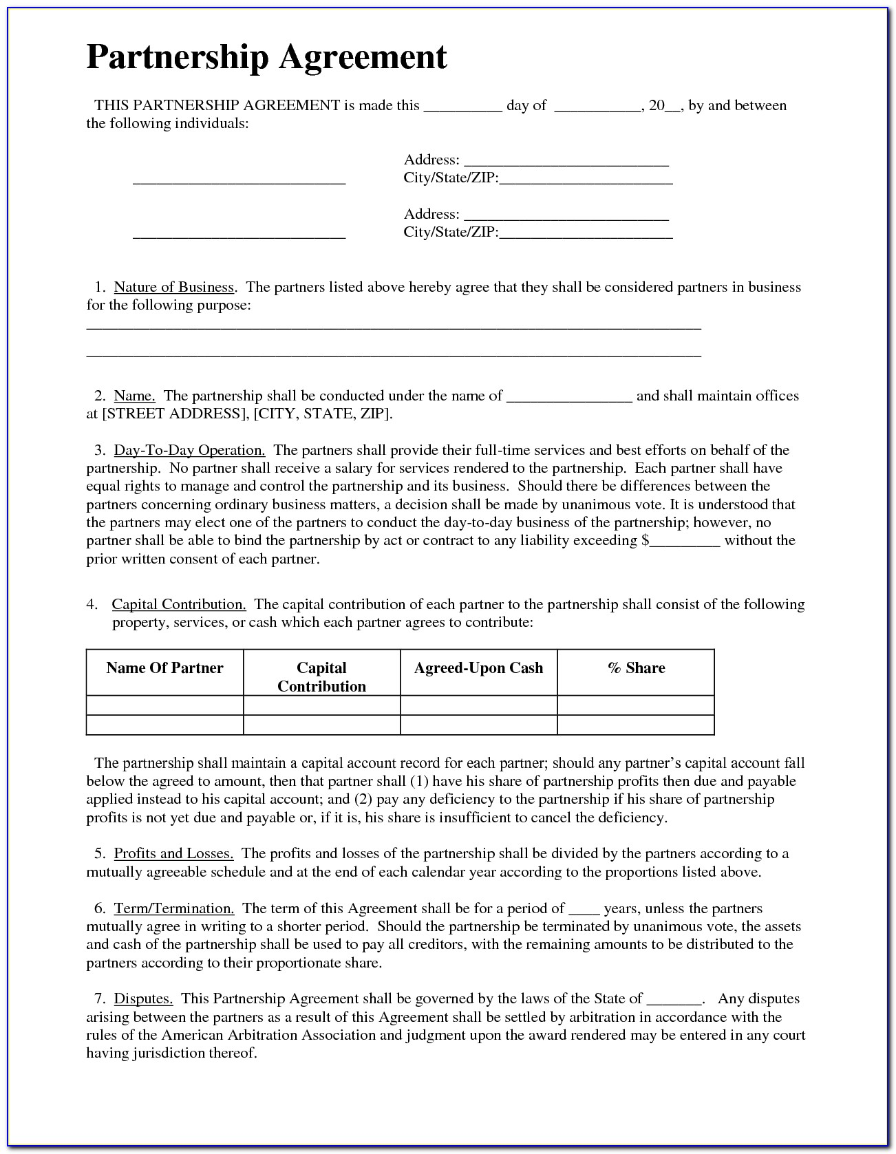 Business Contract Templates Free Download