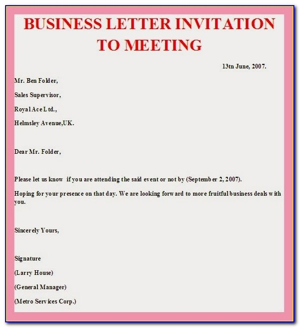Formal Business Invitation Template Business Dinner Invitation Business Meeting Invitation Template