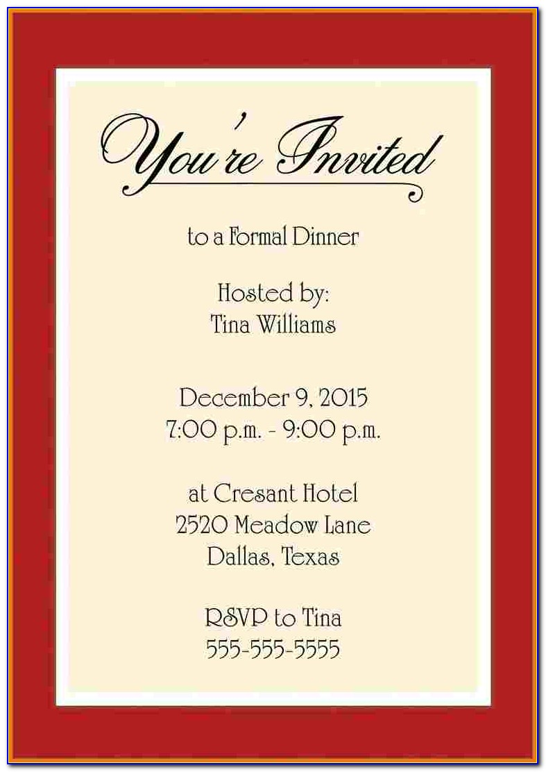 Business Dinner Invitation Template Free Download
