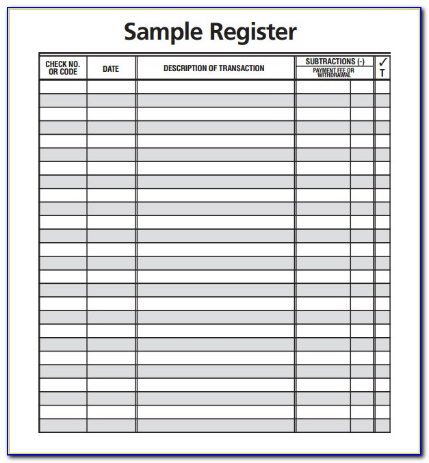 Business Form Template Check Register