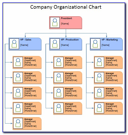 Business Organizational Chart Template Excel