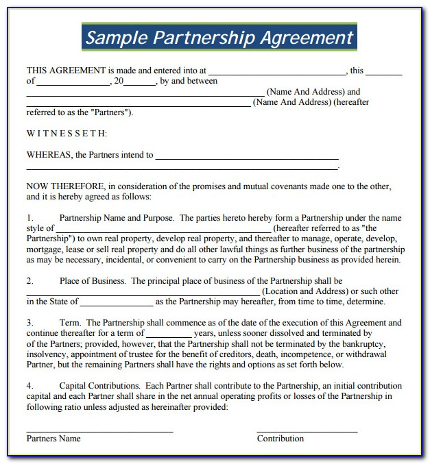 Business Partnership Contract Template Free