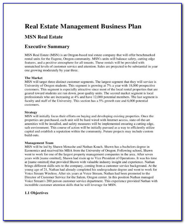 Business Plan For Rental Property Investment Pdf