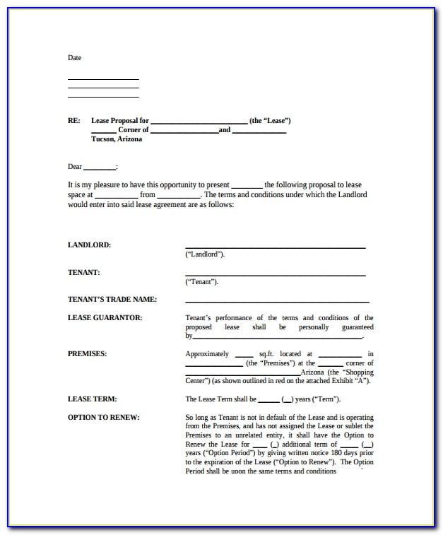 Business Lease Proposal Template Commercial Lease Proposal Template E4dai E4dai