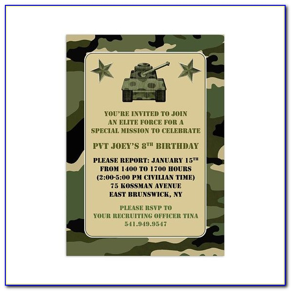 Camouflage Birthday Party Invitation Template