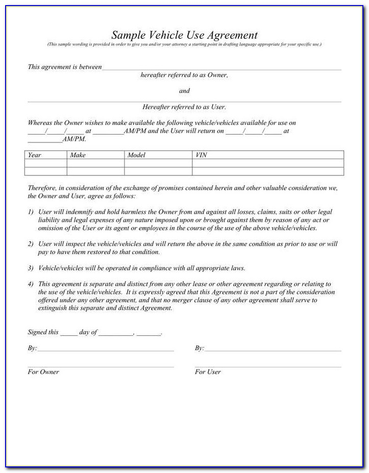 Car Lease Agreement Template India