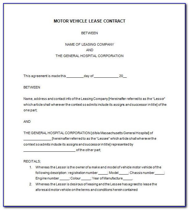 Car Lease Agreement Template Pdf