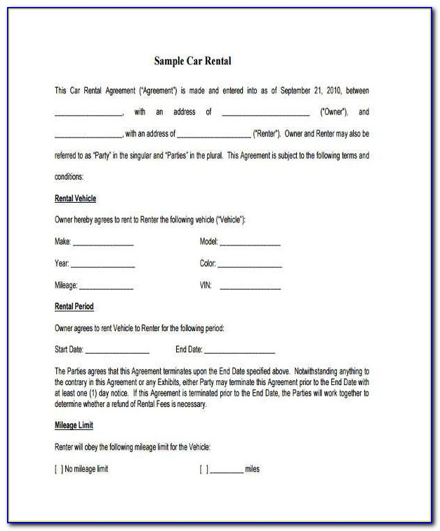 Car Lease Contract Example