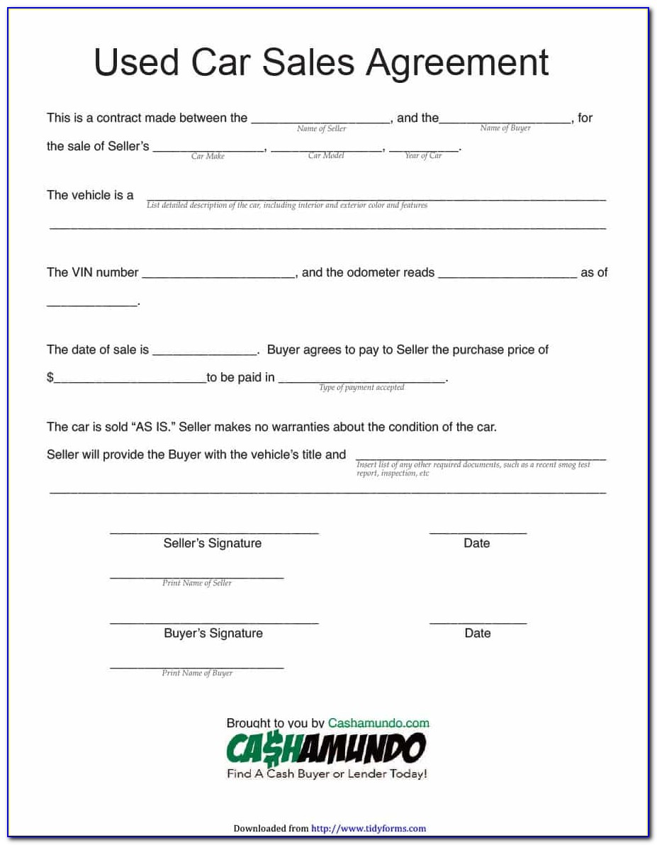 Car Purchase Agreement Template Uk