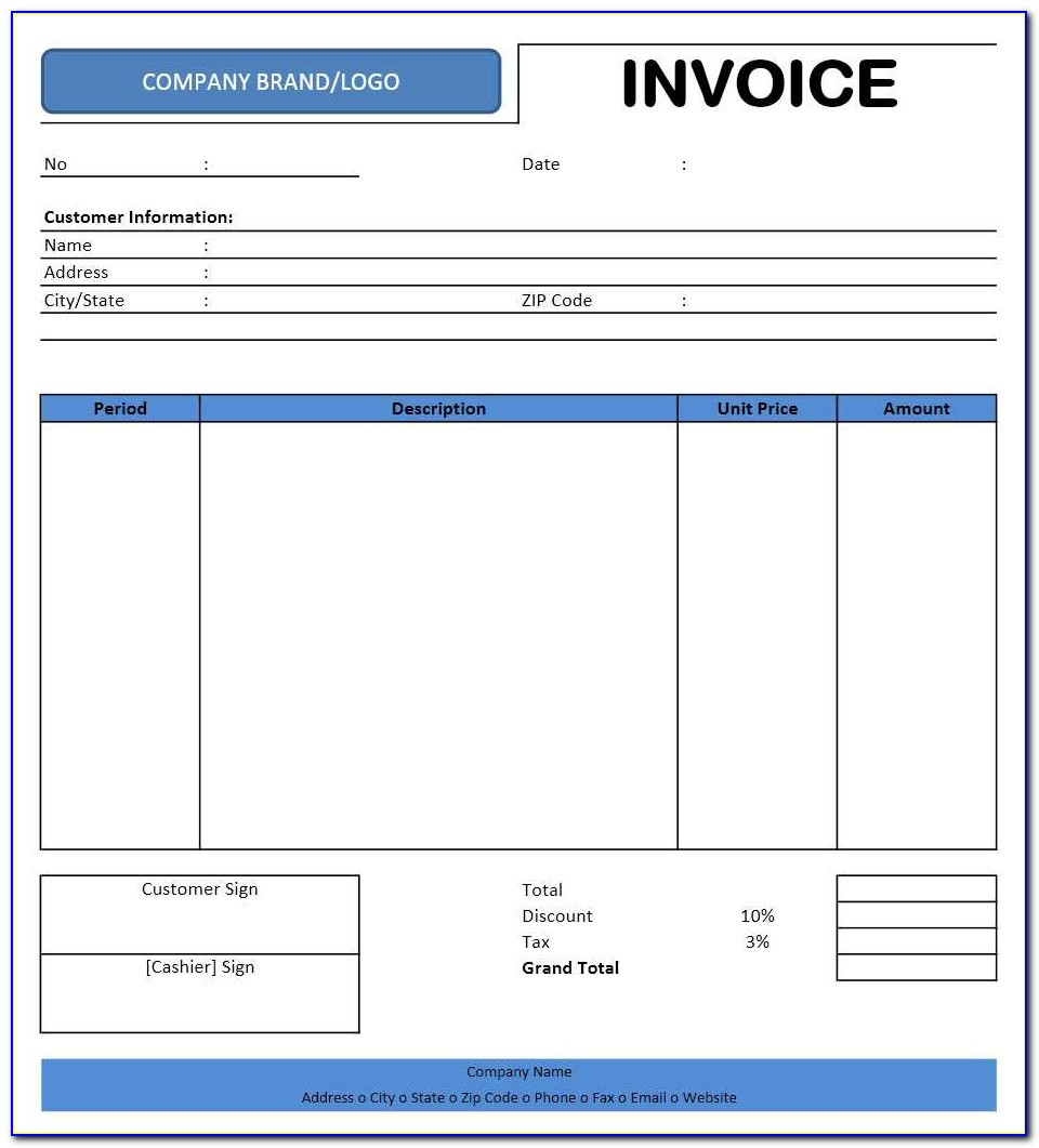 Car Rental Invoice Template Excel