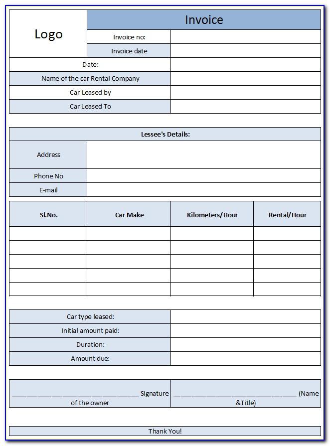 Car Rental Invoice Template Free